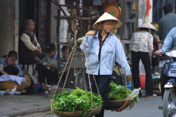 Vietnam von Nord nach Süd - vietnamesische Frau mit Körben